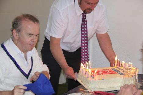 Presenting Ian Hislop with the Private Eye birthday cake.JPG