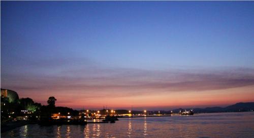 Sunset over Corfu harbour.JPG